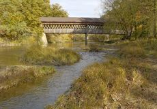 Covered Bridge. S in Northeast Ohio Counties. Early Fall season royalty free stock photo