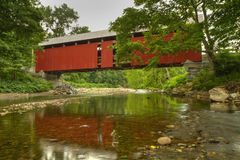 Covered Bridge Calm River Royalty Free Stock Images