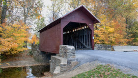 Covered bridge in fall Royalty Free Stock Photo