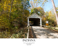 Covered Bridge. Fall foliage covered bridge in Parke County Indiana royalty free stock photos