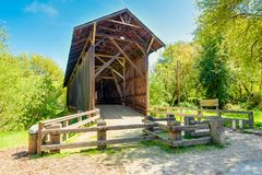 Covered Bridge in Felton California. The Felton Covered Bridge is a covered bridge over the San Lorenzo River in Felton, Santa Cruz County in California, USA. It royalty free stock photo