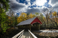Covered bridge in franconia notch state park. 19th century covered bridge located in northern New Hampshire,USA Stock Image