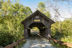 Covered Bridge Gold Brook in Stowe Vermont stock images