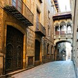 Covered bridge in the Gothic Quarter of Barcelona, Spain Royalty Free Stock Photos