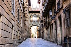 Covered bridge in the Gothic Quarter of Barcelona, Spain Royalty Free Stock Images