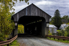 Covered Bridge and Gravel Road - Autumn / Fall - Vermont Stock Images