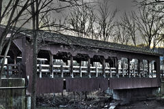 Covered Bridge. An HDR shot of the covered bridge on whitney rd in strongsville ohio royalty free stock photo