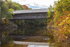 Covered Bridge at Henniker, New HAmpshire. The Henniker covered bridge serves New England College and the community of Henniker as a footbridge across the royalty free stock photography