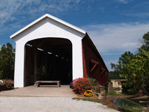 Covered Bridge in Indiana. Red and white covered bridge in Indiana Stock Image