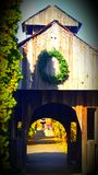 Covered bridge. In indiana with a fountain on other side Royalty Free Stock Photography