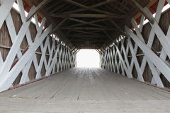 Covered Bridge. The inside structure of a wooden covered bridge stock photo