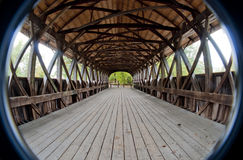 Covered bridge interior. Shot with semi fish-eye lens Stock Images