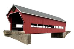Covered bridge isolated. A isolated picture of a covered bridge on white background Stock Photos