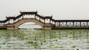 Covered Bridge at Jinxi ancient Town. In Jiangsu province, China stock images