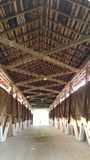Covered Bridge with lights stock image