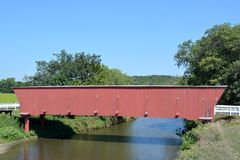 Covered Bridge in Madison County Iowa. View of a covered bridge in Madison County Iowa Stock Image
