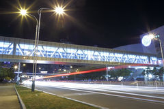 Covered bridge at night in amoy city Stock Photo