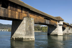 Covered Bridge Over The Rhine Royalty Free Stock Image