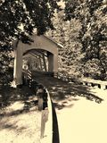 Covered bridge over water royalty free stock image