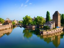 Covered bridge Pont Couverts. In Strasbourgh in the district Petite France, Alsace Royalty Free Stock Images