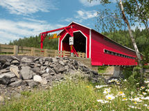 Covered Bridge at Routhierville, Quebec, Canada Stock Photo
