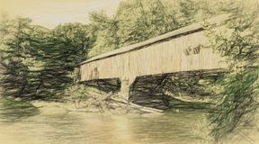 A covered bridge in a rural area in abstract. A beautiful summer day and a covered bridge in a rural area done in the abstract stock illustration