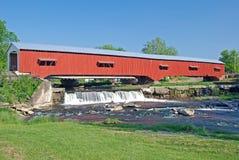 Covered Bridge in Rural Indiana. Restored Historical Bridge in Bridgeton Indiana Stock Image