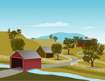 Covered Bridge Scene. Illustration of a covered bridge in a rural country setting Stock Photo