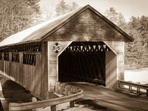 Covered Bridge Sepia. A black and white sepia toned covered bridge River Road, Orford, New Hampshire Royalty Free Stock Photos