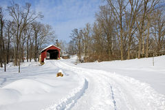 Covered Bridge in Snow Royalty Free Stock Photography