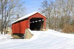 Covered Bridge in Snow Stock Photo