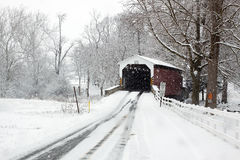 Covered Bridge in Snow Royalty Free Stock Image