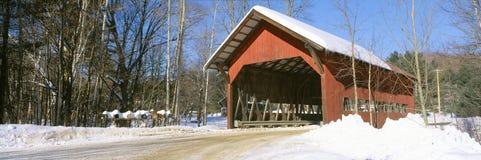 Covered Bridge, Stowe, Winter, Vermont Stock Image