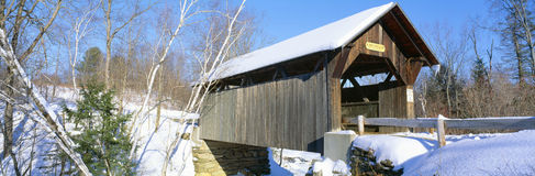 Covered Bridge, Stowe, Winter, Vermont Stock Photography
