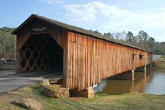 Covered Bridge at Sunset. Angled view from front of working covered bridge at sunset Stock Photos