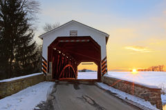 Covered Bridge at Sunset Stock Photos