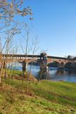 Covered bridge on Ticino river Stock Photography