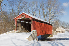 Covered Bridge in Winter Stock Photos