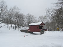 Covered Bridge. Winter Scene - Covered Bridge - Mingo Park, Pennsylvania Stock Images