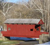 Covered Bridge. Winter Scene - Covered Bridge - Mingo Park, Pennsylvania Stock Image