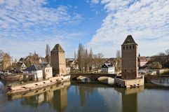 Covered Bridges (Ponts Couverts ). Strasbourg, France. Covered Bridges (Ponts Couverts ) with Hans von Altenheim Tower and Henry Tower (circa 1230). View from Royalty Free Stock Image