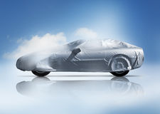 Covered car. A cloth covered sports car with slight mirror reflection royalty free stock photos