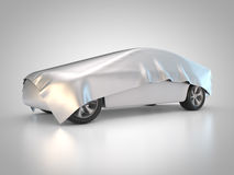 Covered car. 3D rendering: car is covered with tarpaulin Royalty Free Stock Photo