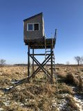 Covered Deer Stand. In the wilderness on hunting land stock photo