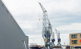 Covered dock and cranes Royalty Free Stock Photography