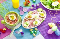 Covered Easter table stock photo