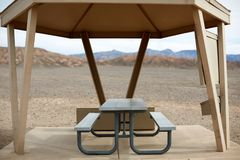 Covered eating facilities in Death Valley Stock Images
