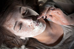 Covered in flour stock images