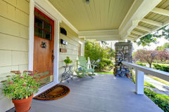 Covered front porch. craftsman style home. Royalty Free Stock Image