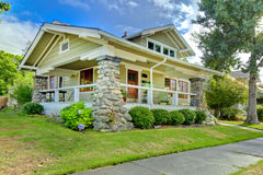 Covered front porch. old craftsman style home. stock image